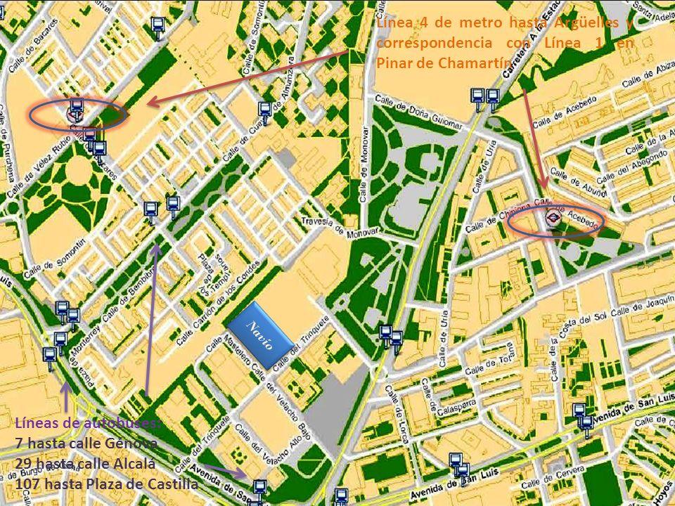 Línea 4 de metro hasta Argüelles y correspondencia con Línea 1 en Pinar de Chamartín Líneas de autobuses: 7 hasta calle Génova 29 hasta calle Alcalá 1