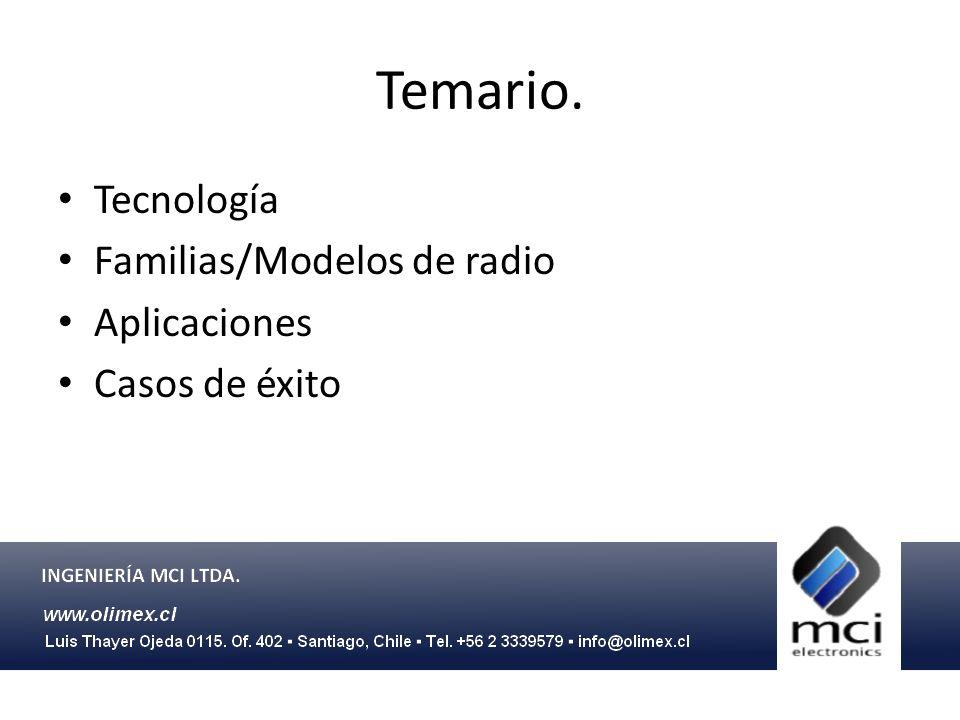 Temario. Tecnología Familias/Modelos de radio Aplicaciones Casos de éxito