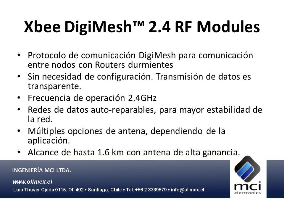 Xbee DigiMesh 900 Mesh RF Modules Protocolo de comunicación DigiMesh para comunicación entre nodos con Routers durmientes Sin necesidad de configuración.