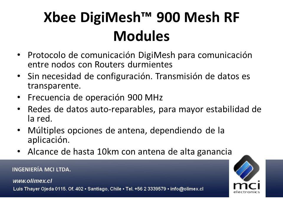 Xbee DigiMesh 900 Mesh RF Modules Protocolo de comunicación DigiMesh para comunicación entre nodos con Routers durmientes Sin necesidad de configuraci