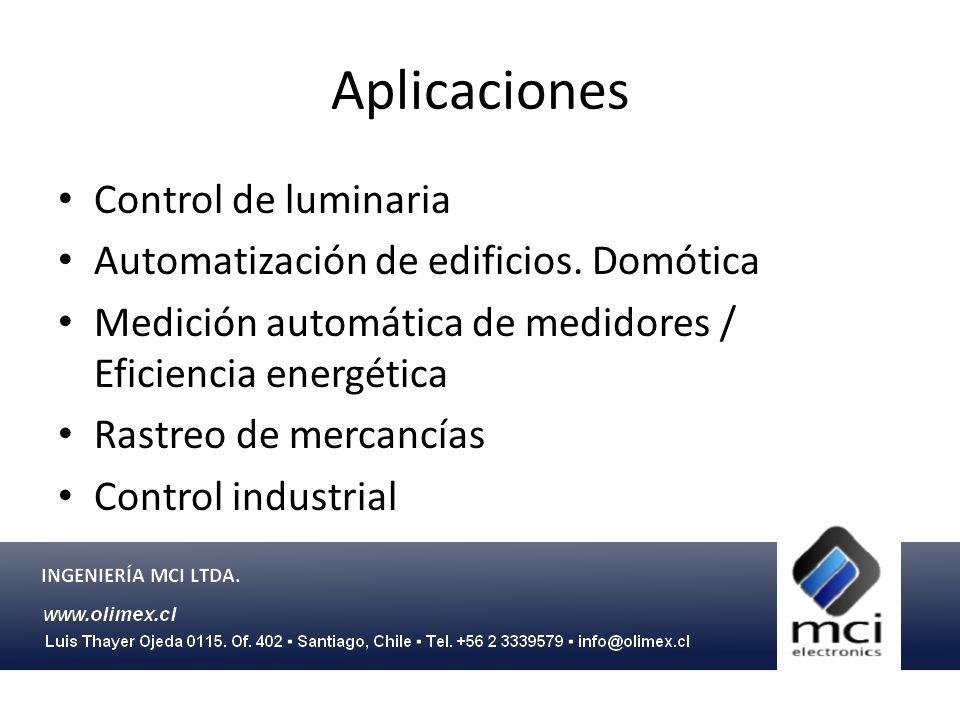 Aplicaciones Control de luminaria Automatización de edificios. Domótica Medición automática de medidores / Eficiencia energética Rastreo de mercancías