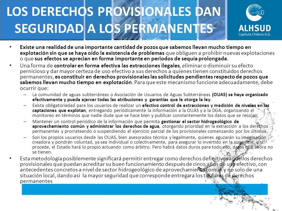 REALIDAD DEL AGUA SUBTERRANEA CAUDALES AGUAS SUBTERRANEAS CONSTITUIDOS A Dic 2002 EN (l/s) ACTUALIZADOS A Mayo 2009 Nacional : 207.364 l/s (Dic 2002) 201.793 l/s (May 2009) Total 409.157 l/s Modelación ACN - DGA Detención Otorgamientos
