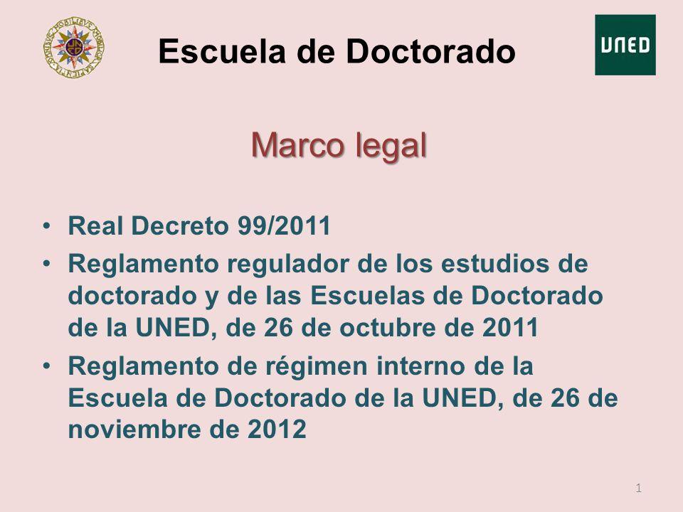 Escuela de Doctorado Marco legal Real Decreto 99/2011 Reglamento regulador de los estudios de doctorado y de las Escuelas de Doctorado de la UNED, de
