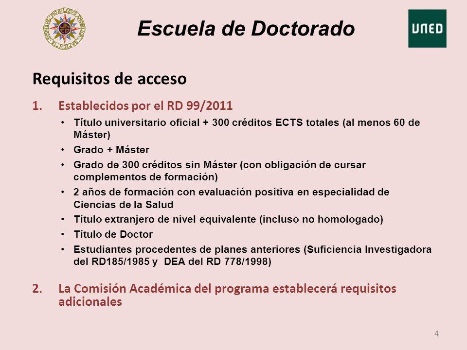 Escuela de Doctorado 1.Establecidos por el RD 99/2011 Título universitario oficial + 300 créditos ECTS totales (al menos 60 de Máster) Grado + Máster