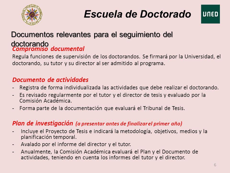 Escuela de Doctorado Compromiso documental Regula funciones de supervisión de los doctorandos. Se firmará por la Universidad, el doctorando, su tutor