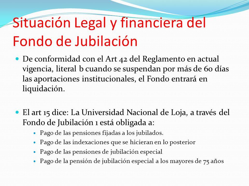 Situación Legal y financiera del Fondo de Jubilación De conformidad con el Art 42 del Reglamento en actual vigencia, literal b cuando se suspendan por más de 60 días las aportaciones institucionales, el Fondo entrará en liquidación.