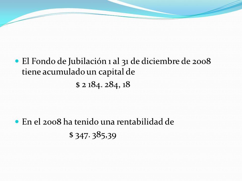 El Fondo de Jubilación 1 al 31 de diciembre de 2008 tiene acumulado un capital de $ 2 184.