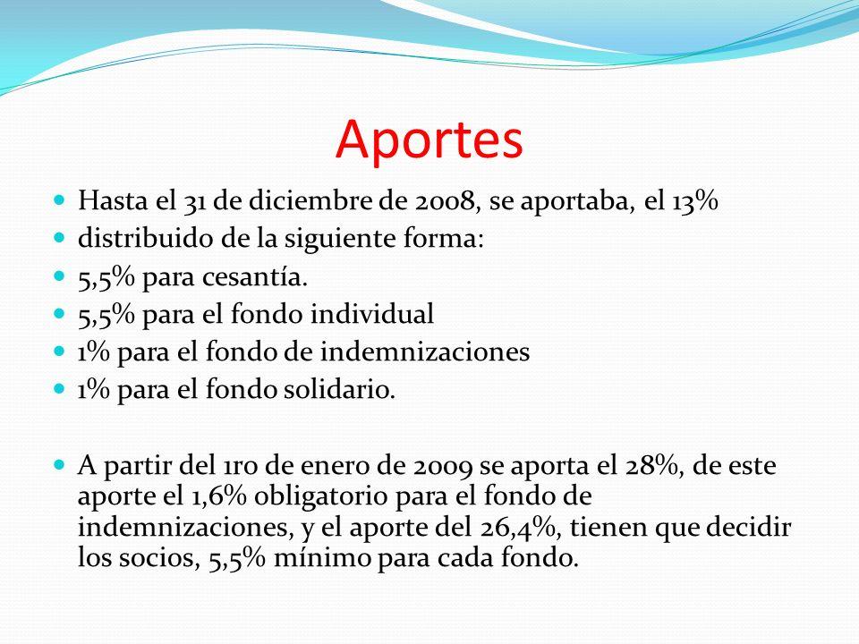 Aportes Hasta el 31 de diciembre de 2008, se aportaba, el 13% distribuido de la siguiente forma: 5,5% para cesantía.