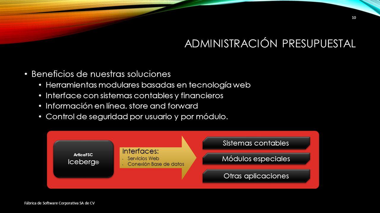 ADMINISTRACIÓN PRESUPUESTAL Beneficios de nuestras soluciones Herramientas modulares basadas en tecnología web Interface con sistemas contables y fina