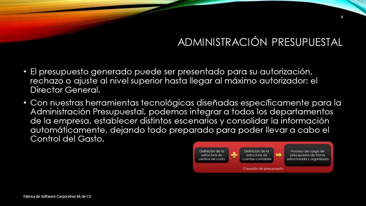 ADMINISTRACIÓN PRESUPUESTAL El presupuesto generado puede ser presentado para su autorización, rechazo o ajuste al nivel superior hasta llegar al máxi