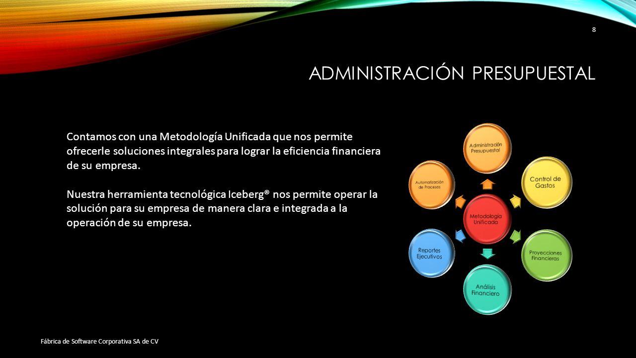 ADMINISTRACIÓN PRESUPUESTAL Fábrica de Software Corporativa SA de CV 8 Contamos con una Metodología Unificada que nos permite ofrecerle soluciones int