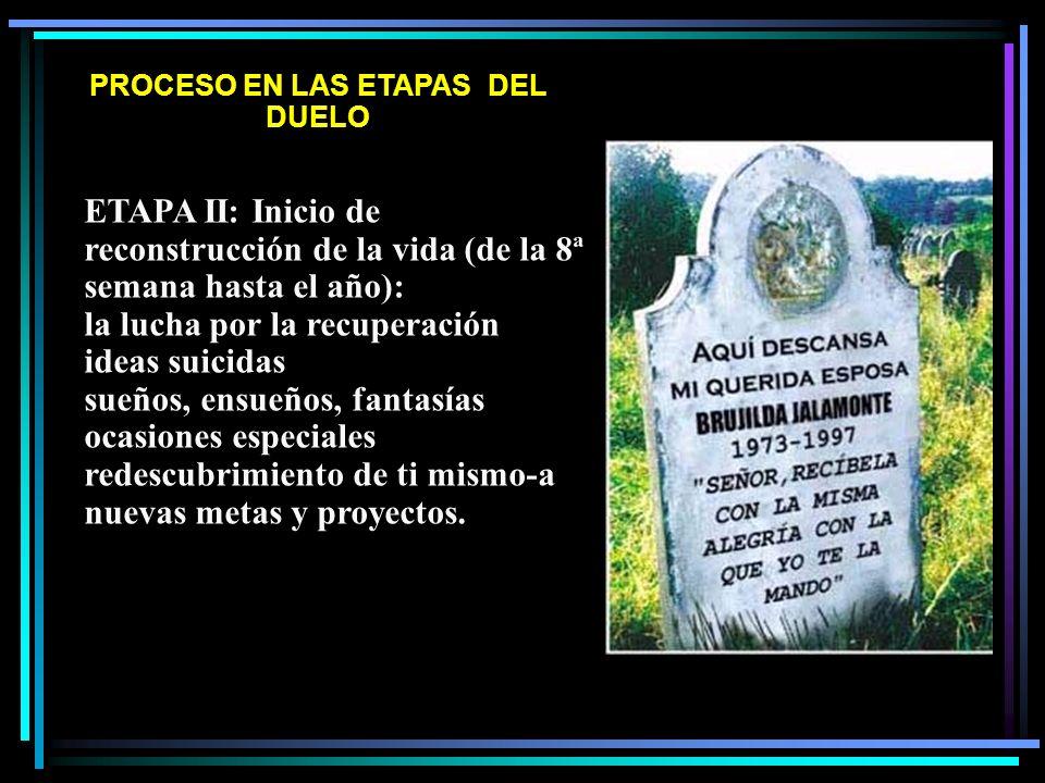 PROCESO EN LAS ETAPAS DEL DUELO ETAPA II: Inicio de reconstrucción de la vida (de la 8ª semana hasta el año): la lucha por la recuperación ideas suici