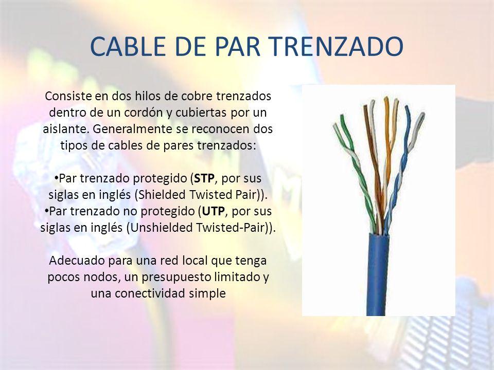 CABLE DE PAR TRENZADO Consiste en dos hilos de cobre trenzados dentro de un cordón y cubiertas por un aislante.