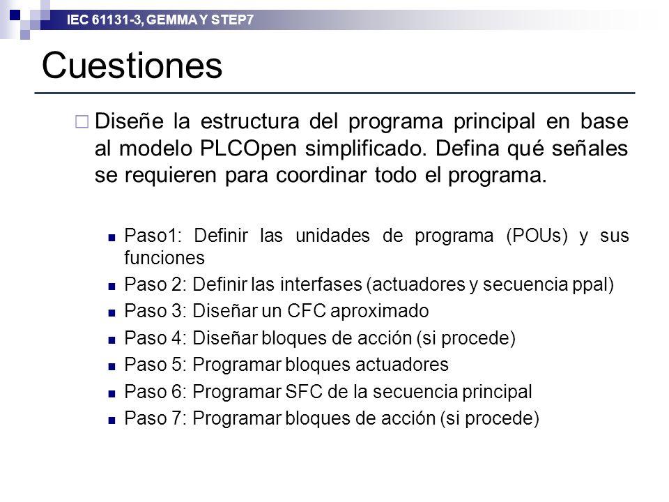 IEC 61131-3, GEMMA Y STEP7 Cuestiones Diseñe la estructura del programa principal en base al modelo PLCOpen simplificado. Defina qué señales se requie
