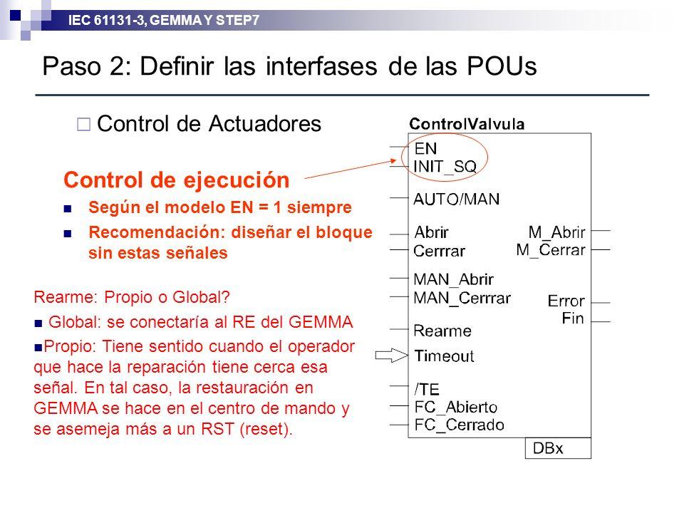 IEC 61131-3, GEMMA Y STEP7 Paso 2: Definir las interfases de las POUs Control de Actuadores Control de ejecución Según el modelo EN = 1 siempre Recome