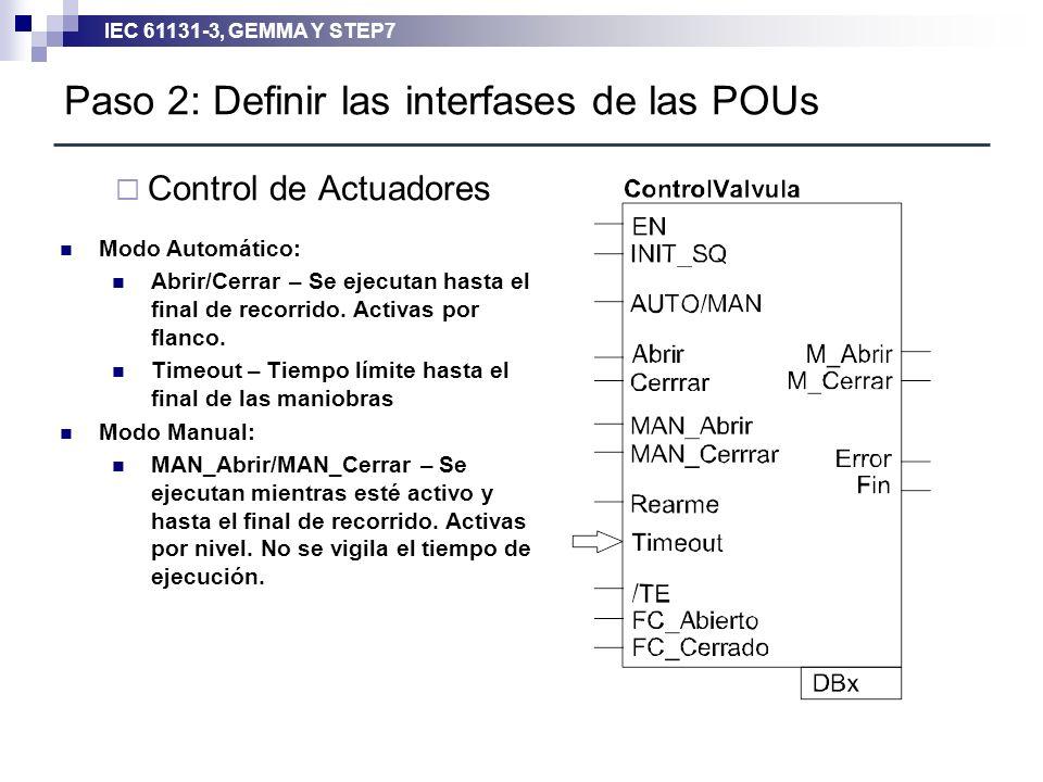 IEC 61131-3, GEMMA Y STEP7 Paso 2: Definir las interfases de las POUs Control de Actuadores Modo Automático: Abrir/Cerrar – Se ejecutan hasta el final