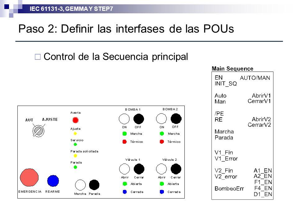 IEC 61131-3, GEMMA Y STEP7 Control de la Secuencia principal Paso 2: Definir las interfases de las POUs