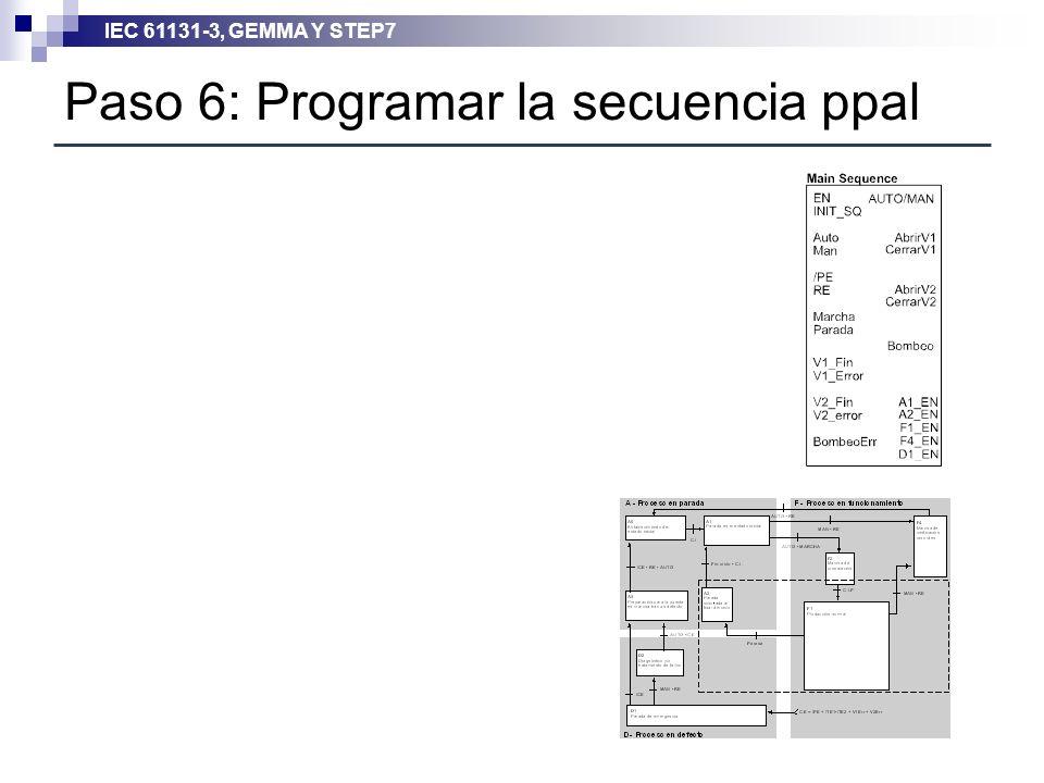 IEC 61131-3, GEMMA Y STEP7 Paso 6: Programar la secuencia ppal