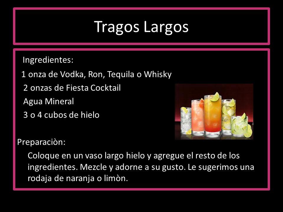 Tragos Largos Ingredientes: 1 onza de Vodka, Ron, Tequila o Whisky 2 onzas de Fiesta Cocktail Agua Mineral 3 o 4 cubos de hielo Preparaciòn: Coloque e