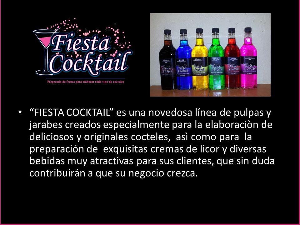 NUESTROS JARABESJARABES Los jarabes de Fiesta Cocktail le ayudaràn a preparar de una manera muy sencilla y rápida, deliciosos martinis, cremas de licor, cafés con un toque exòtico y muchas otras combinaciones con bebidas como vodka, brandy, whisky, tequila y mezcal.