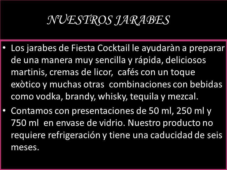 NUESTROS JARABESJARABES Los jarabes de Fiesta Cocktail le ayudaràn a preparar de una manera muy sencilla y rápida, deliciosos martinis, cremas de lico