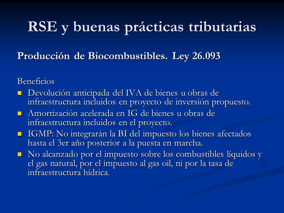RSE y buenas prácticas tributarias Producción de Biocombustibles. Ley 26.093 Beneficios Devolución anticipada del IVA de bienes u obras de infraestruc