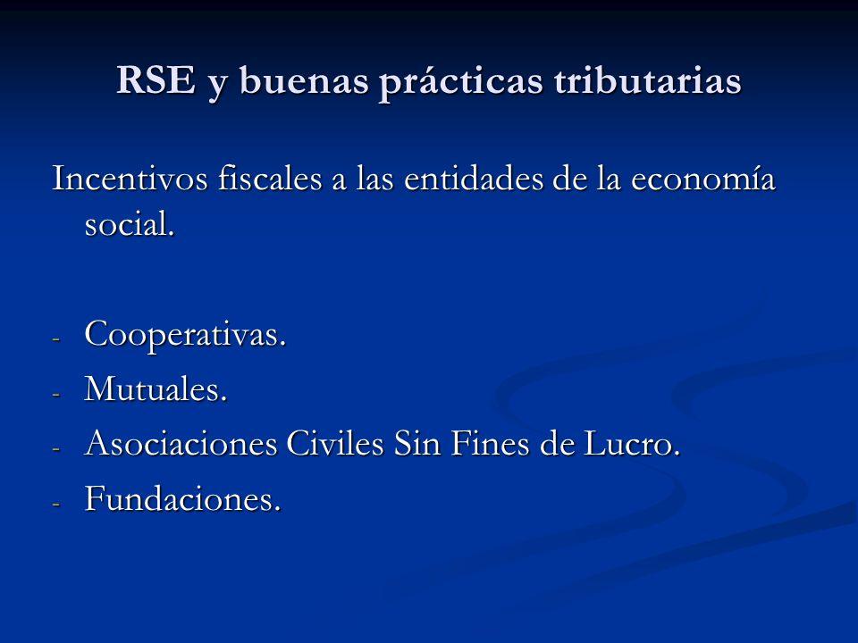 RSE y buenas prácticas tributarias Incentivos fiscales a las entidades de la economía social. - Cooperativas. - Mutuales. - Asociaciones Civiles Sin F