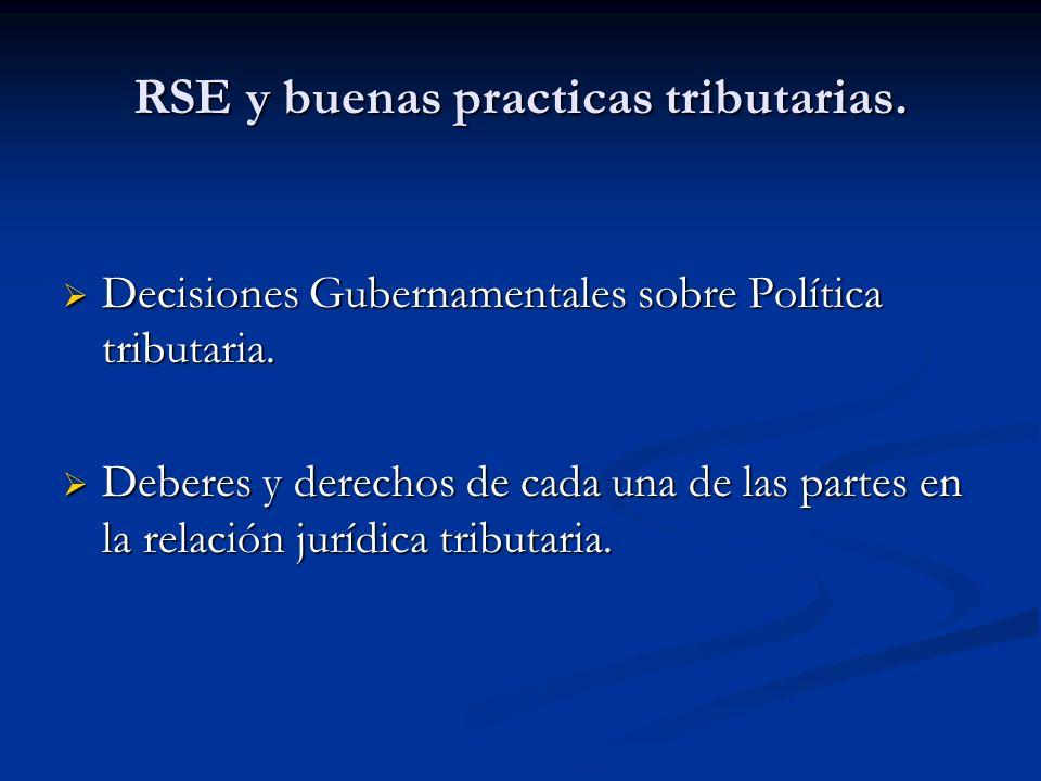 RSE y buenas practicas tributarias. Decisiones Gubernamentales sobre Política tributaria. Decisiones Gubernamentales sobre Política tributaria. Debere