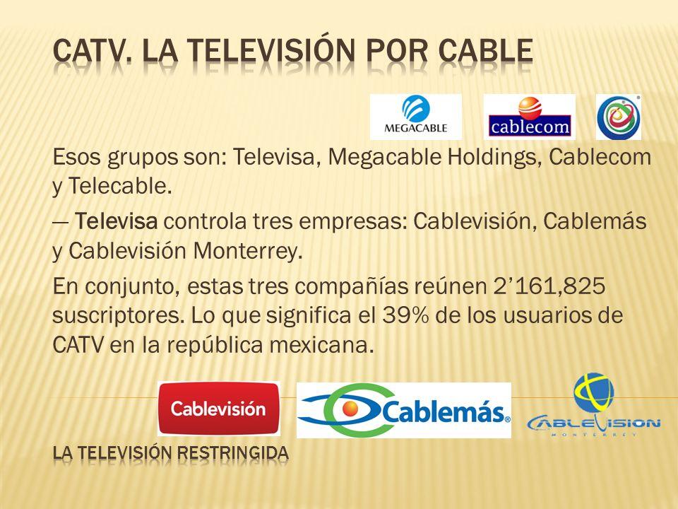 Esos grupos son: Televisa, Megacable Holdings, Cablecom y Telecable. Televisa controla tres empresas: Cablevisión, Cablemás y Cablevisión Monterrey. E