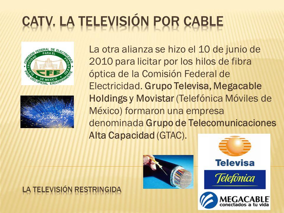 La otra alianza se hizo el 10 de junio de 2010 para licitar por los hilos de fibra óptica de la Comisión Federal de Electricidad. Grupo Televisa, Mega