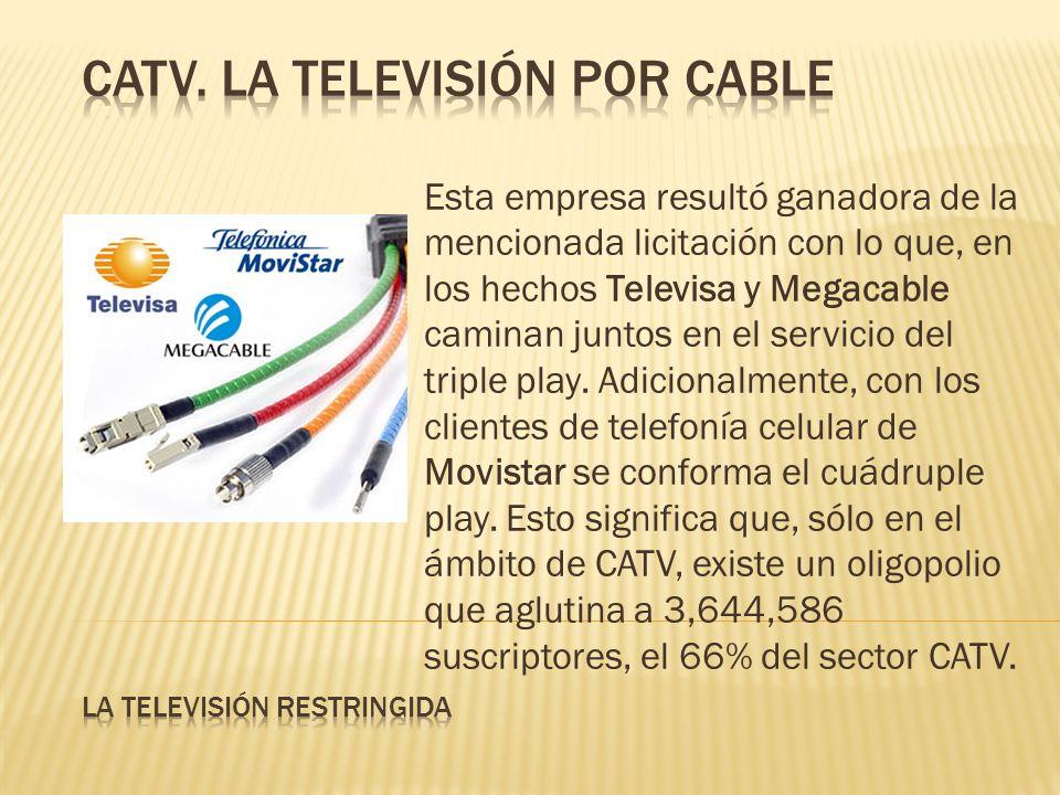 Esta empresa resultó ganadora de la mencionada licitación con lo que, en los hechos Televisa y Megacable caminan juntos en el servicio del triple play