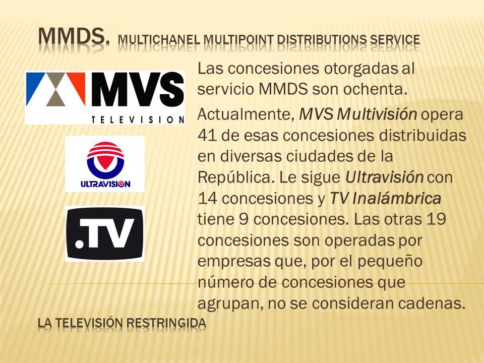 Las concesiones otorgadas al servicio MMDS son ochenta. Actualmente, MVS Multivisión opera 41 de esas concesiones distribuidas en diversas ciudades de