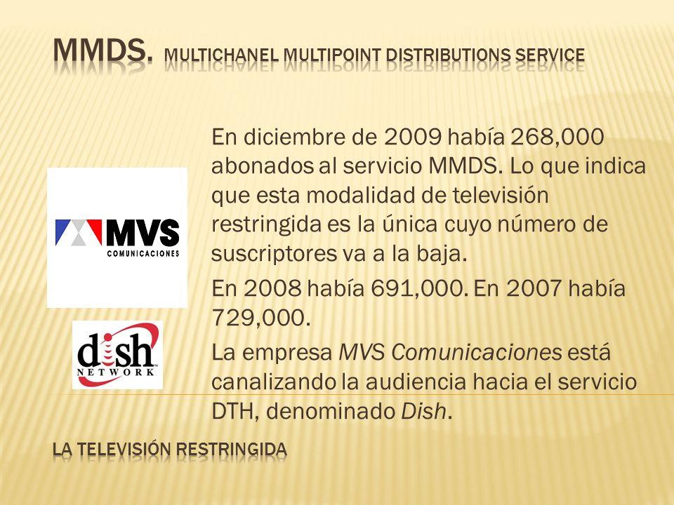 En diciembre de 2009 había 268,000 abonados al servicio MMDS. Lo que indica que esta modalidad de televisión restringida es la única cuyo número de su