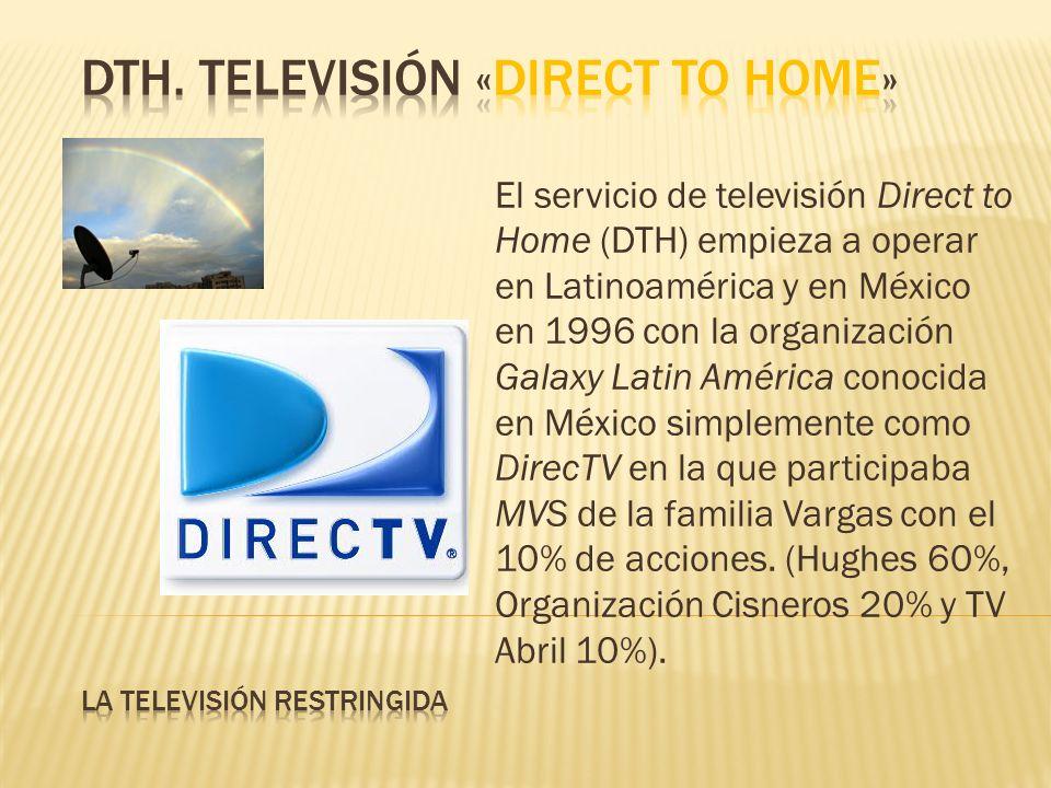 El servicio de televisión Direct to Home (DTH) empieza a operar en Latinoamérica y en México en 1996 con la organización Galaxy Latin América conocida en México simplemente como DirecTV en la que participaba MVS de la familia Vargas con el 10% de acciones.