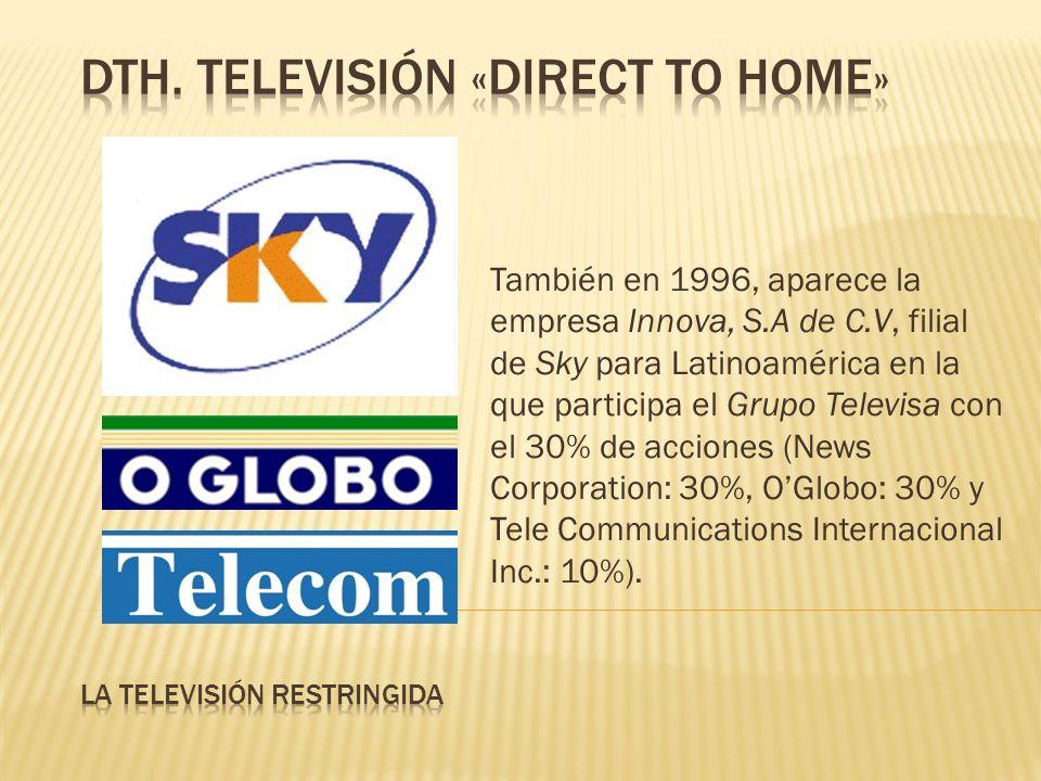También en 1996, aparece la empresa Innova, S.A de C.V, filial de Sky para Latinoamérica en la que participa el Grupo Televisa con el 30% de acciones (News Corporation: 30%, OGlobo: 30% y Tele Communications Internacional Inc.: 10%).