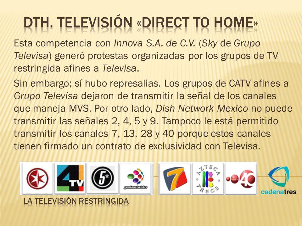 Esta competencia con Innova S.A. de C.V. (Sky de Grupo Televisa) generó protestas organizadas por los grupos de TV restringida afines a Televisa. Sin