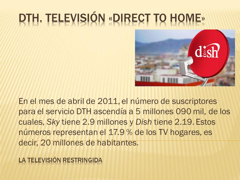 En el mes de abril de 2011, el número de suscriptores para el servicio DTH ascendía a 5 millones 090 mil, de los cuales, Sky tiene 2.9 millones y Dish tiene 2.19.