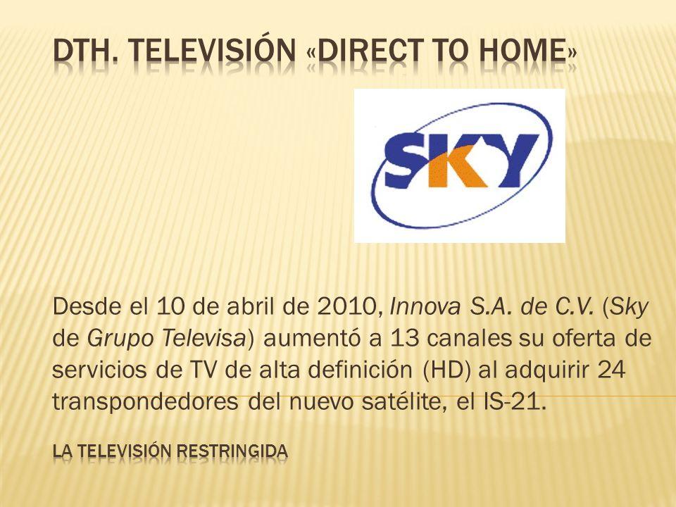 Desde el 10 de abril de 2010, Innova S.A. de C.V. (Sky de Grupo Televisa) aumentó a 13 canales su oferta de servicios de TV de alta definición (HD) al