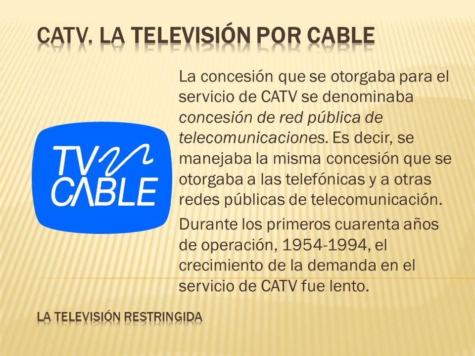 La concesión que se otorgaba para el servicio de CATV se denominaba concesión de red pública de telecomunicaciones. Es decir, se manejaba la misma con