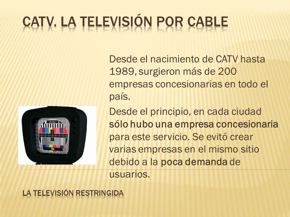 Desde el nacimiento de CATV hasta 1989, surgieron más de 200 empresas concesionarias en todo el país. Desde el principio, en cada ciudad sólo hubo una