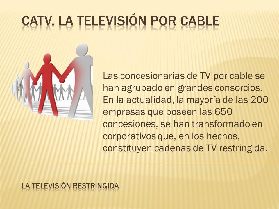 Las concesionarias de TV por cable se han agrupado en grandes consorcios. En la actualidad, la mayoría de las 200 empresas que poseen las 650 concesio