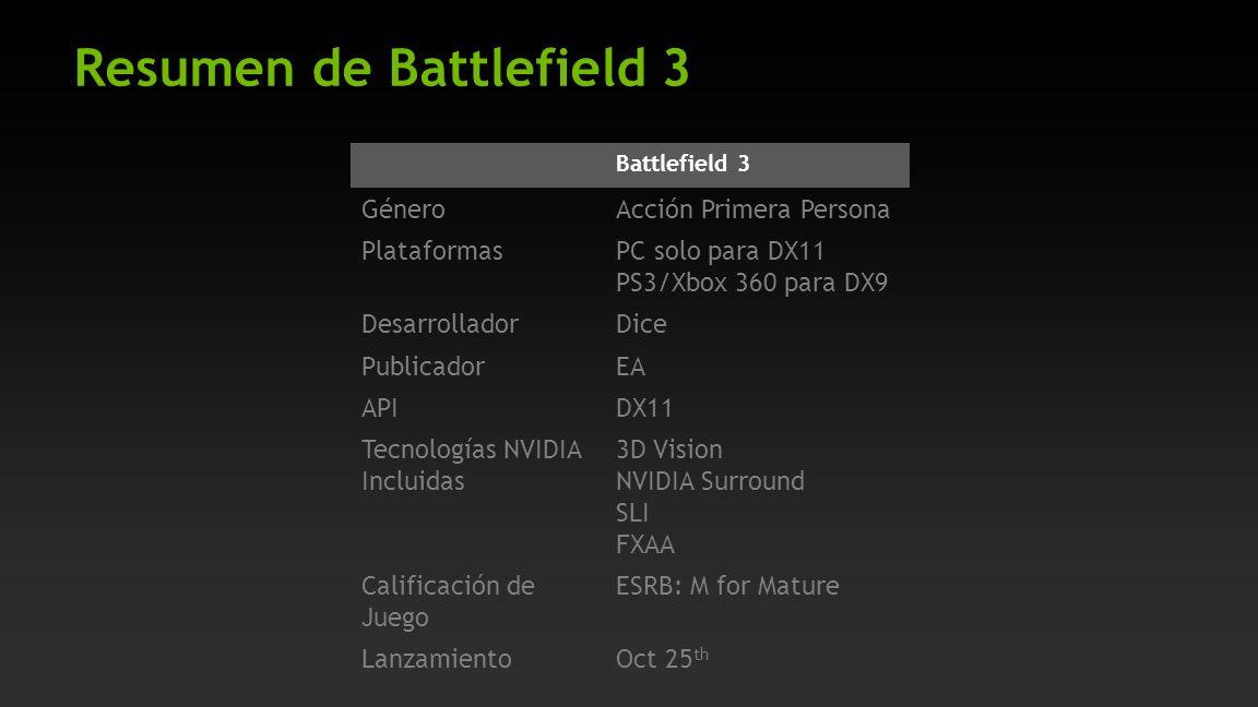Resumen de Battlefield 3 Battlefield 3 GéneroAcción Primera Persona PlataformasPC solo para DX11 PS3/Xbox 360 para DX9 DesarrolladorDice PublicadorEA APIDX11 Tecnologías NVIDIA Incluidas 3D Vision NVIDIA Surround SLI FXAA Calificación de Juego ESRB: M for Mature LanzamientoOct 25 th