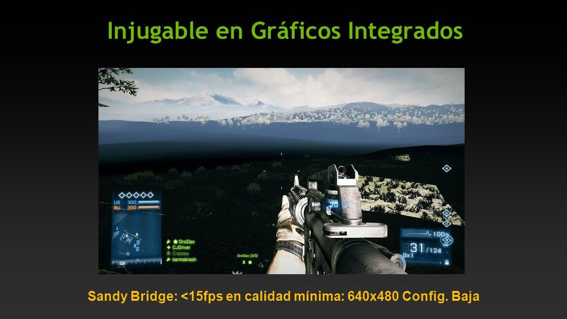 Injugable en Gráficos Integrados Sandy Bridge: <15fps en calidad mínima: 640x480 Config. Baja