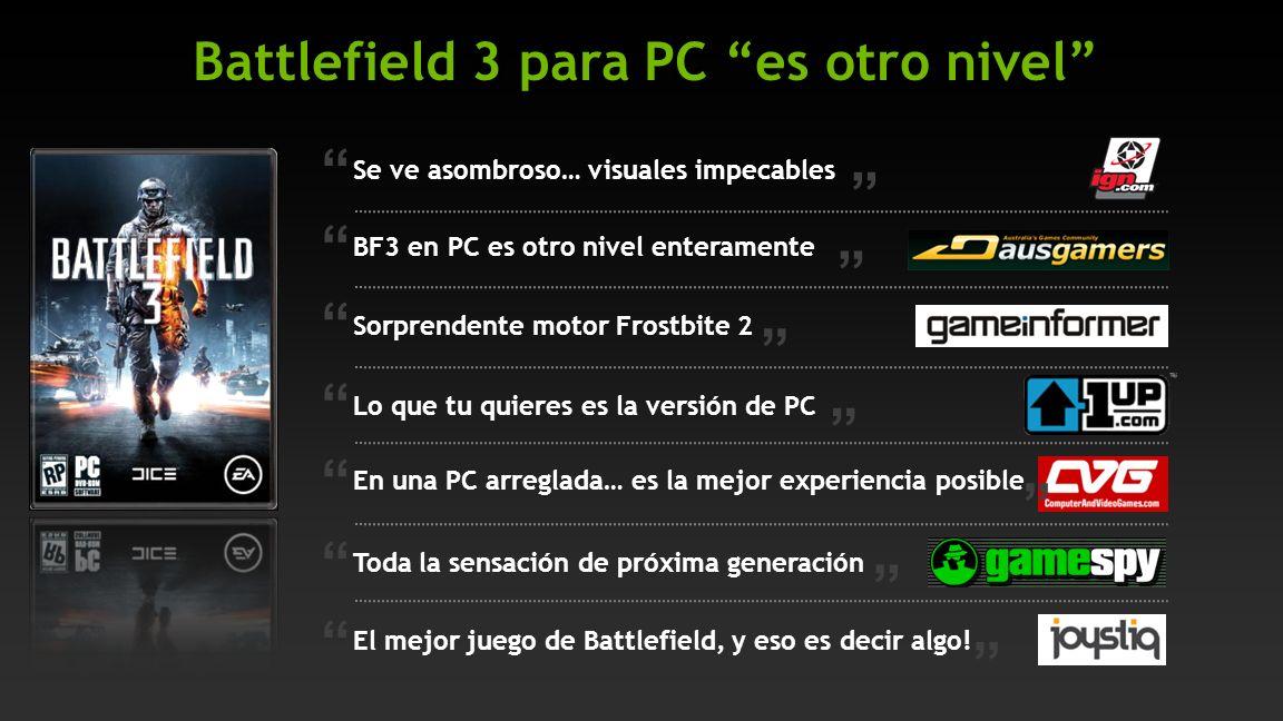 Se ve asombroso… visuales impecables En una PC arreglada… es la mejor experiencia posible Toda la sensación de próxima generación El mejor juego de Battlefield, y eso es decir algo.