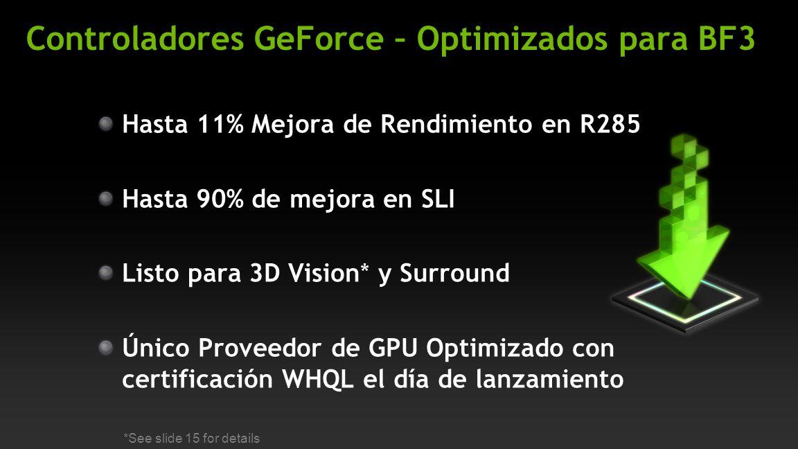 Controladores GeForce – Optimizados para BF3 Hasta 11% Mejora de Rendimiento en R285 Hasta 90% de mejora en SLI Listo para 3D Vision* y Surround Único Proveedor de GPU Optimizado con certificación WHQL el día de lanzamiento *See slide 15 for details