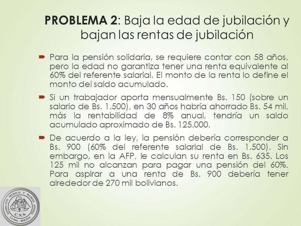 PROBLEMA 2 : Baja la edad de jubilación y bajan las rentas de jubilación Para la pensión solidaria, se requiere contar con 58 años, pero la edad no garantiza tener una renta equivalente al 60% del referente salarial.