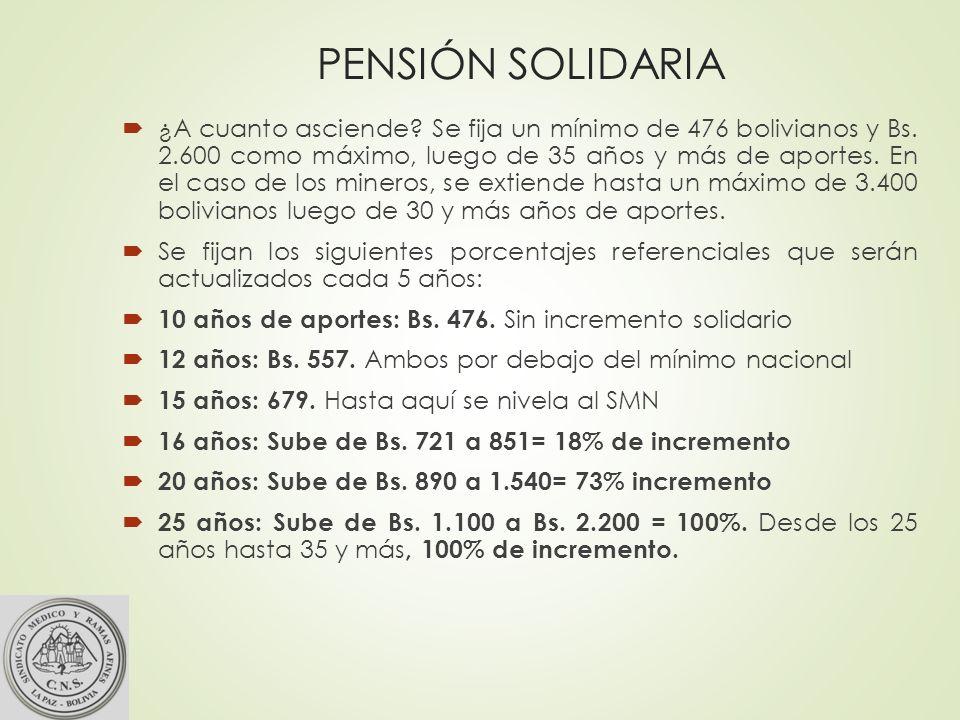 PENSIÓN SOLIDARIA ¿A cuanto asciende.Se fija un mínimo de 476 bolivianos y Bs.