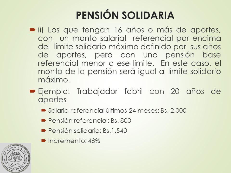 PENSIÓN SOLIDARIA ii) Los que tengan 16 años o más de aportes, con un monto salarial referencial por encima del límite solidario máximo definido por sus años de aportes, pero con una pensión base referencial menor a ese límite.