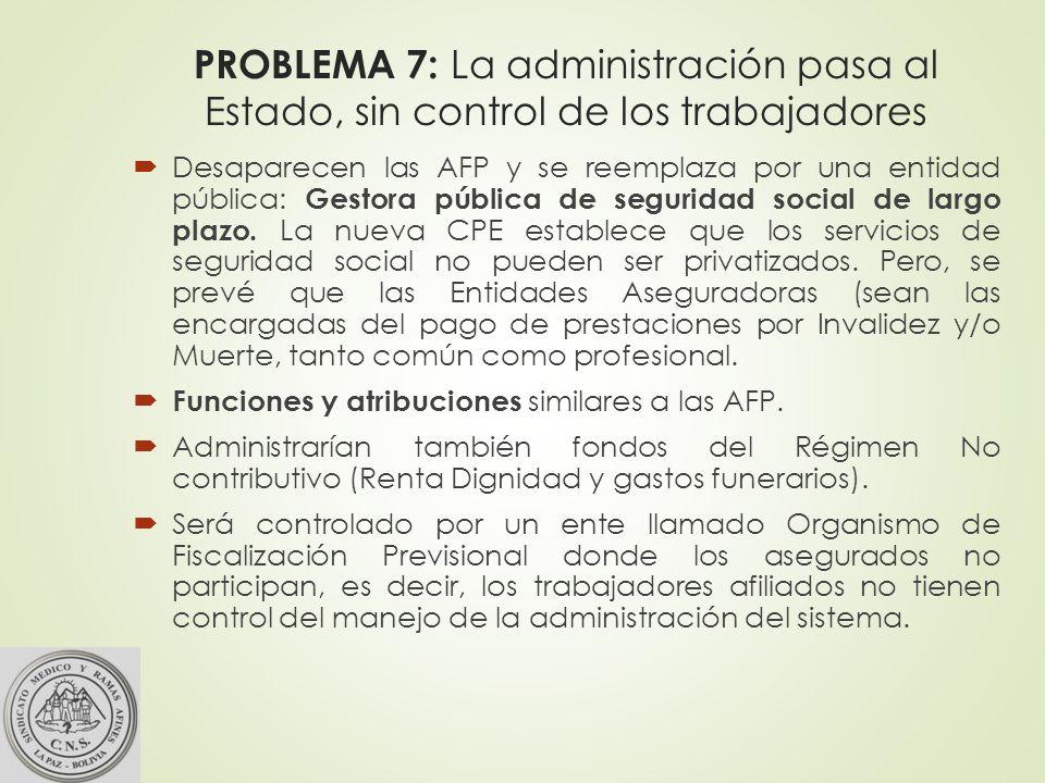 PROBLEMA 7: La administración pasa al Estado, sin control de los trabajadores Desaparecen las AFP y se reemplaza por una entidad pública: Gestora pública de seguridad social de largo plazo.