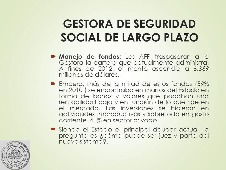 GESTORA DE SEGURIDAD SOCIAL DE LARGO PLAZO Manejo de fondos : Las AFP traspasaran a la Gestora la cartera que actualmente administra.
